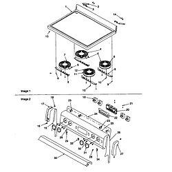 ARTC7511WW Electric Range Main top and backguard Parts diagram