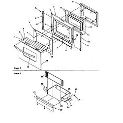 ARTC7511WW Electric Range Oven door and storage drawer Parts diagram