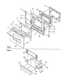 ARTS6650WW Electric Slide-In Range Oven door and storage drawer Parts diagram