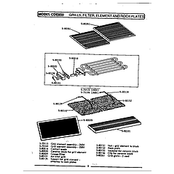 CDE850 Range Grill, filter, element & rock plate Parts diagram