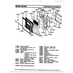 CDE850 Range Oven door assembly Parts diagram