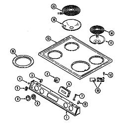 CHE9000BCE Range Top assembly Parts diagram