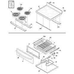CPLEF398CCB Electric Range Top/drawer Parts diagram