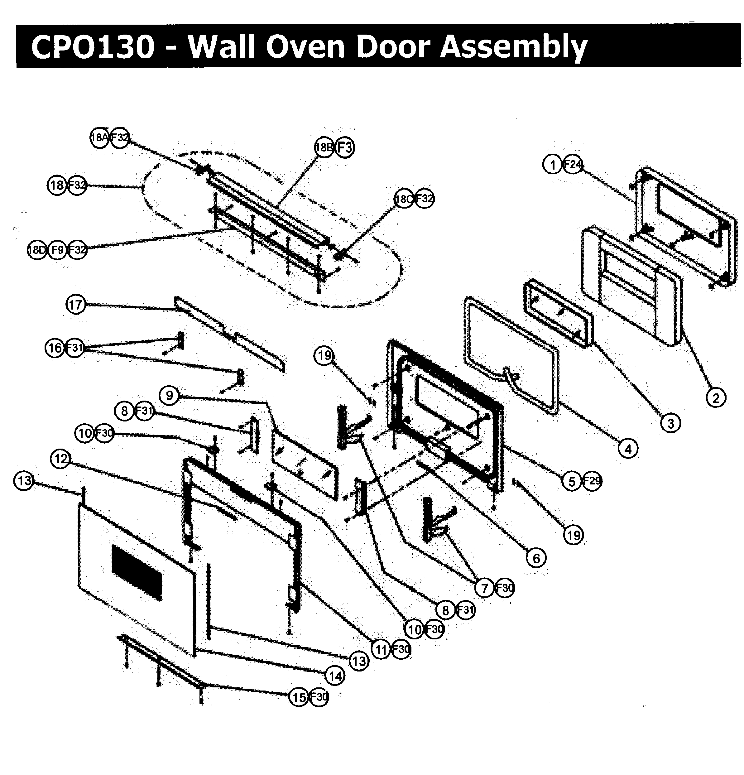 CPO130 Wall Oven Door assy Parts diagram