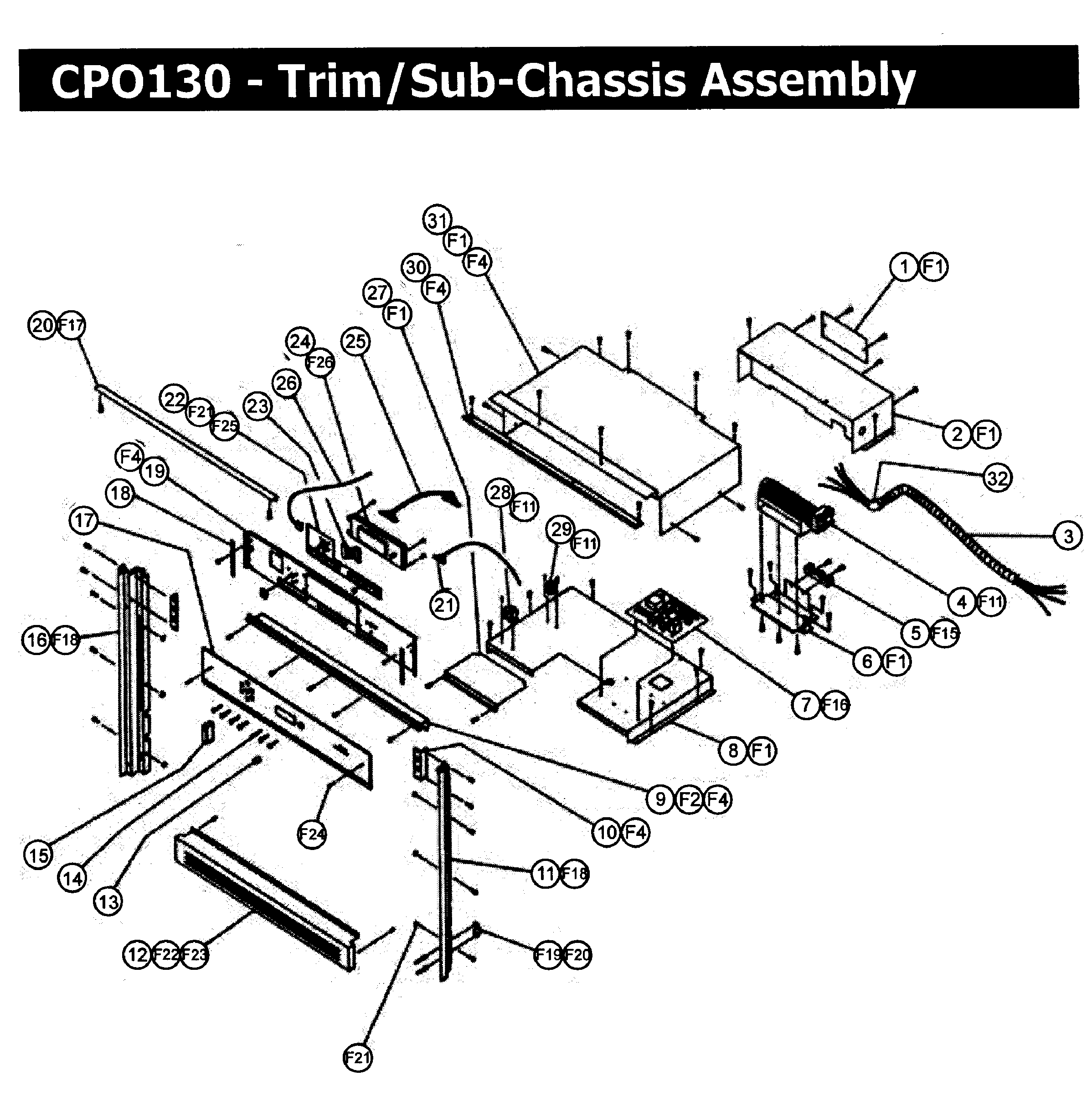 CPO130 Wall Oven Trim assy Parts diagram