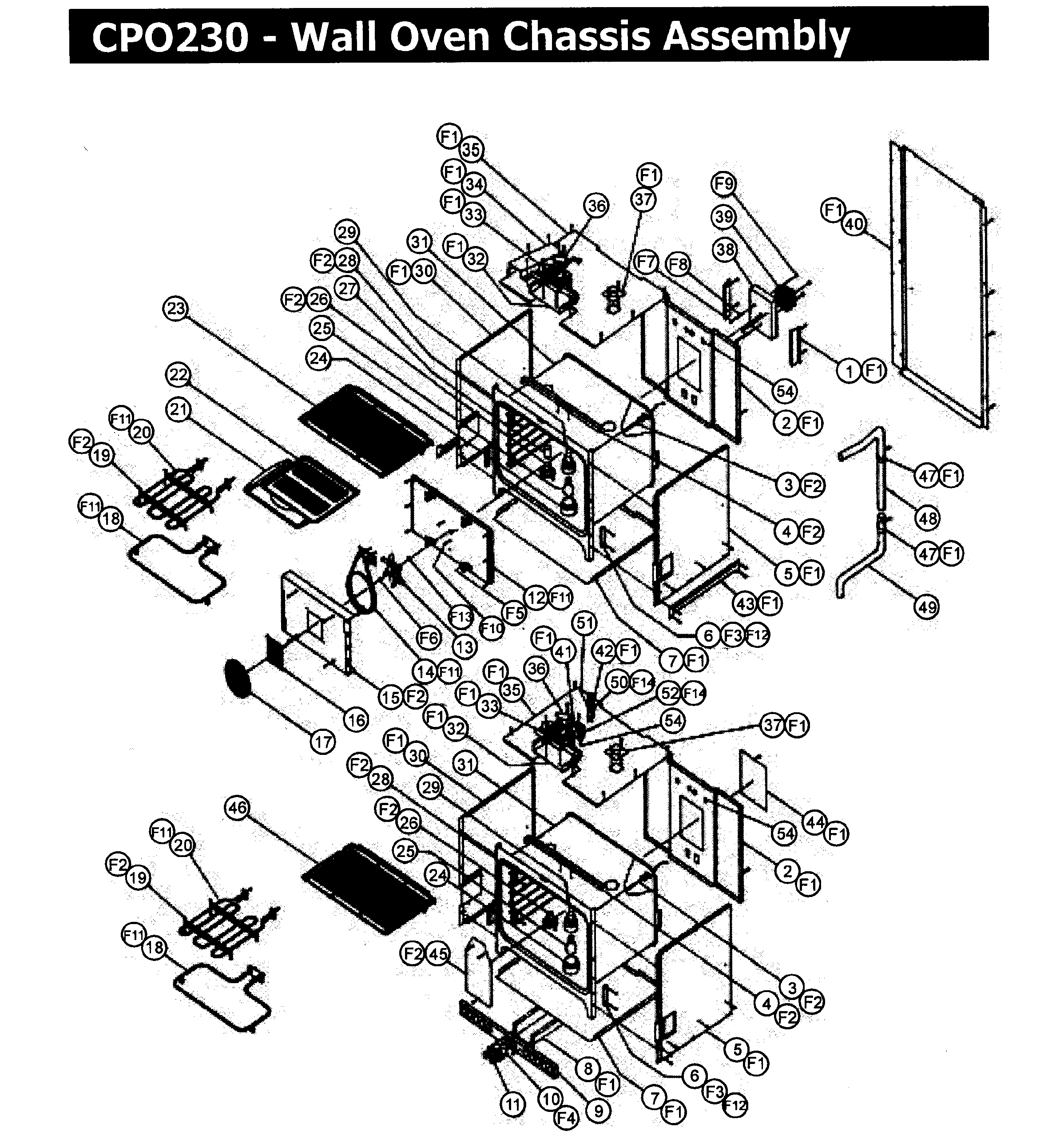 CPO230 Wall Oven Chassis assy Parts diagram