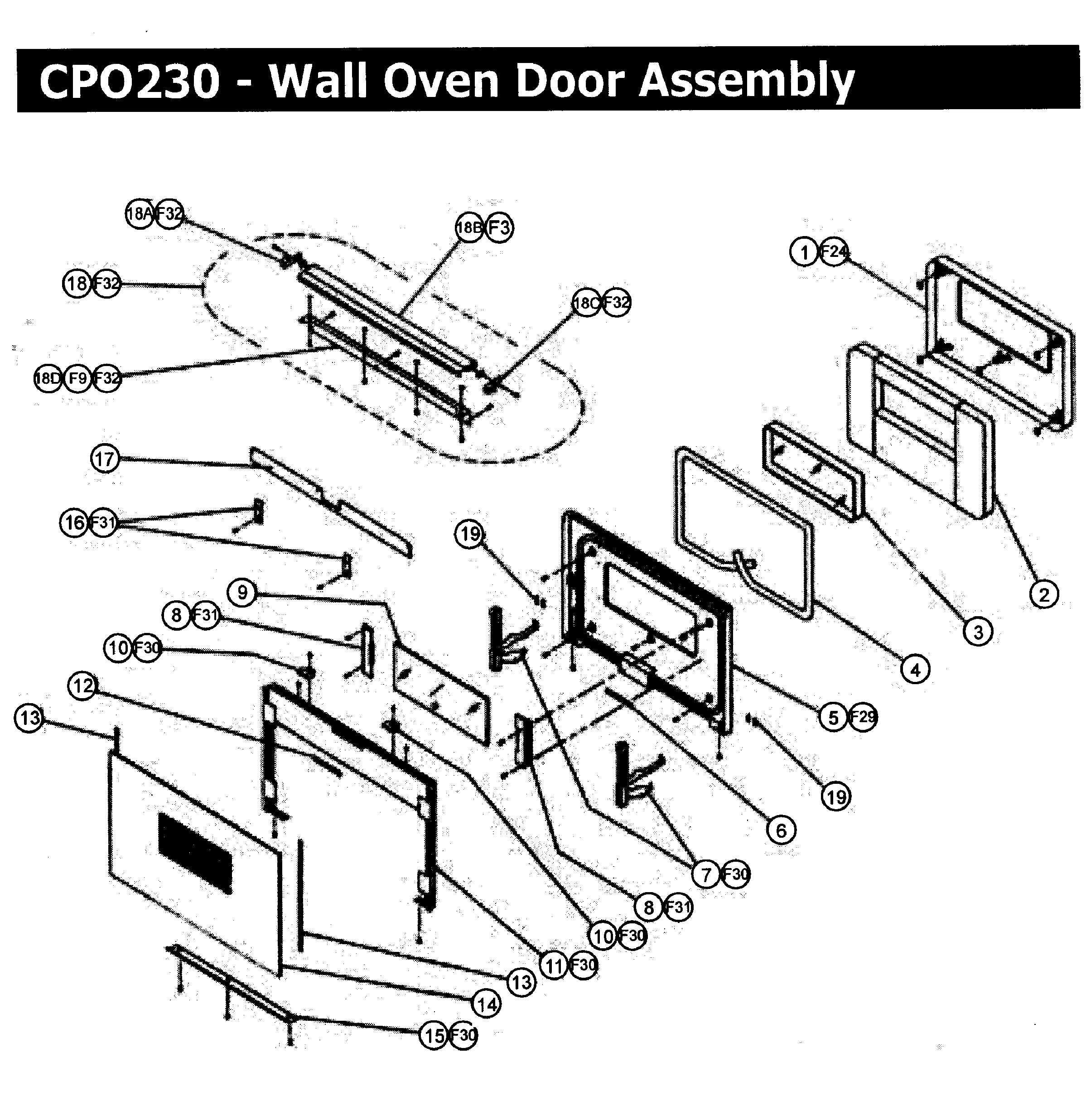 CPO230 Wall Oven Door assy Parts diagram