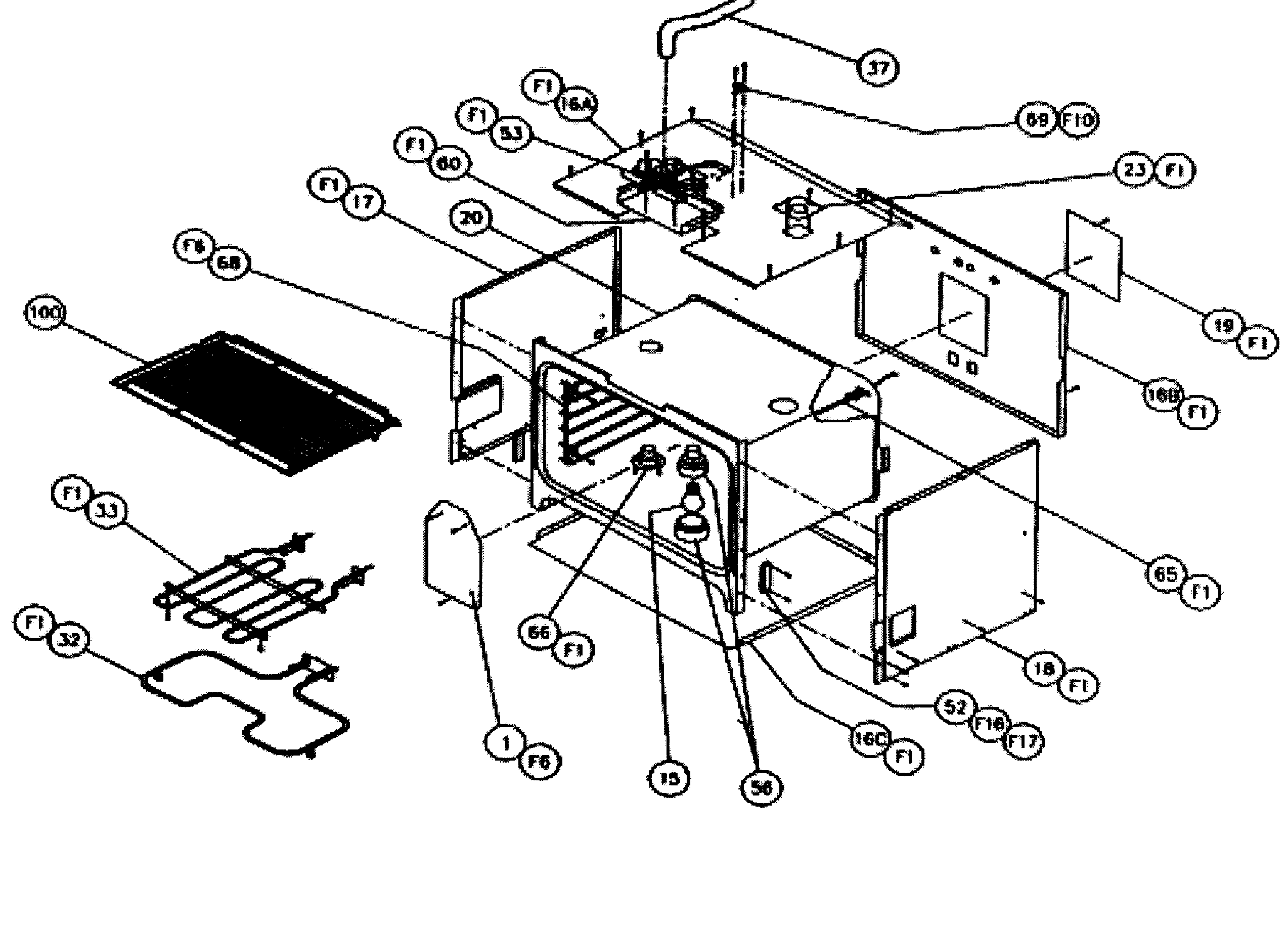 CPS127 Oven Non-conv oven Parts diagram