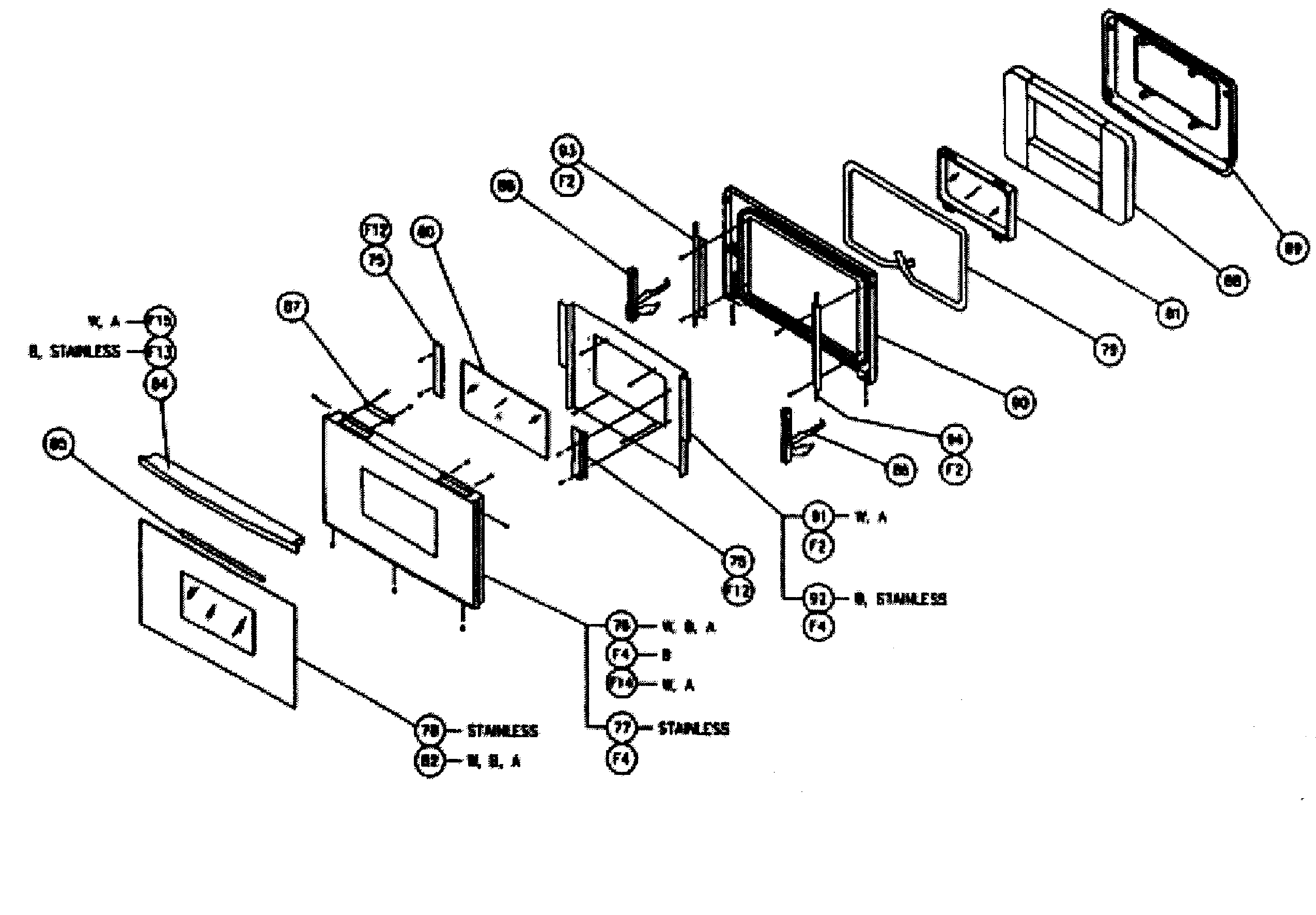 CPS130 Oven Door assy Parts diagram