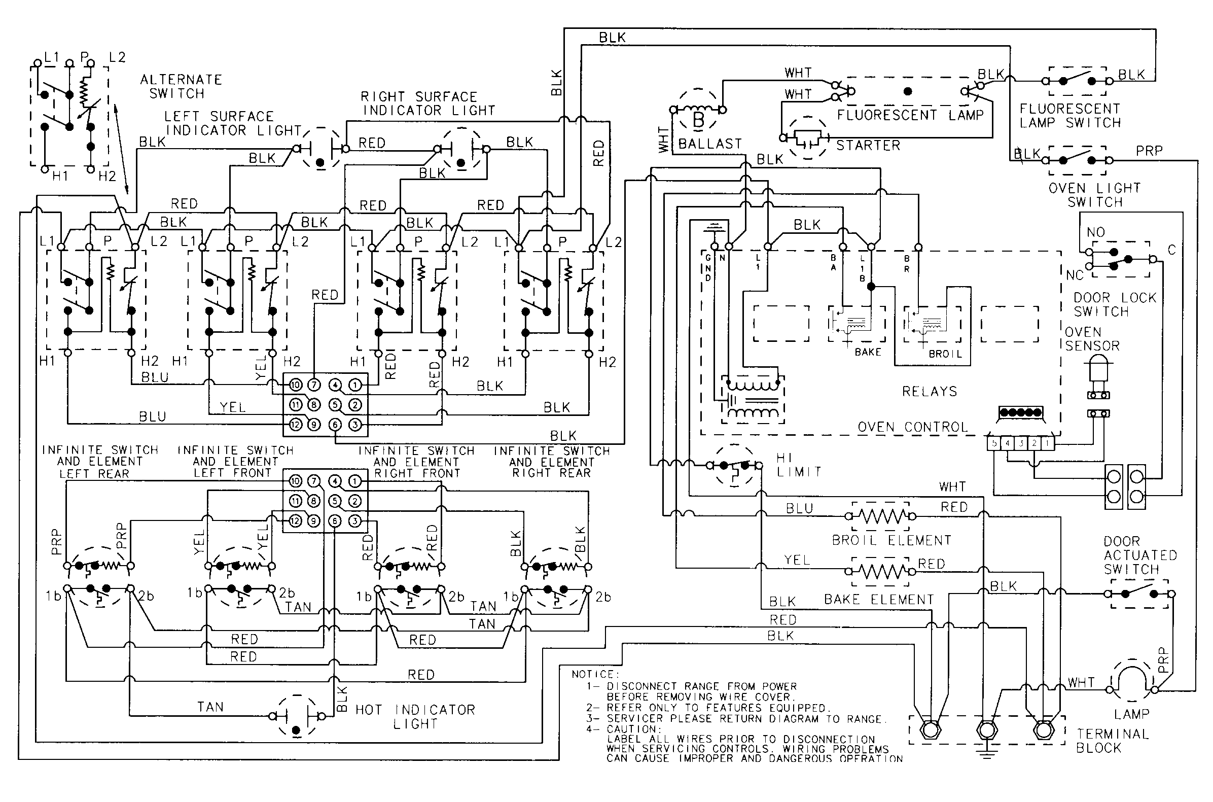 CRE9600 Range Wiring information Parts diagram