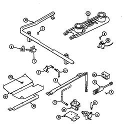 CRG9600 Range Gas controls (serial prefix 17) Parts diagram