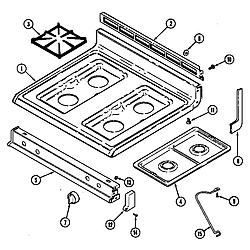 CRG9600 Range Top assembly Parts diagram