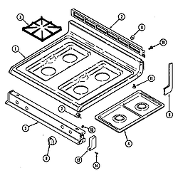 CRG9700AAW Range Top assembly Parts diagram