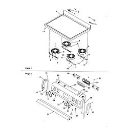 CST6512WW Electric Range Maintop and backguard Parts diagram