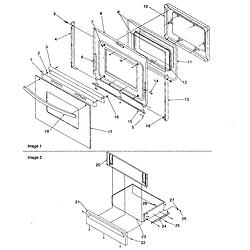 CST6512WW Electric Range Oven door and storage door Parts diagram