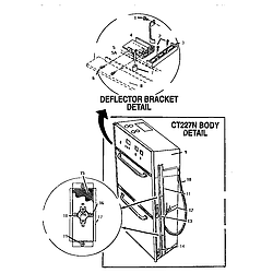 CT227N Electric Wall Oven Deflector bracket detail Parts diagram