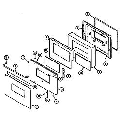 CWE9000ACE Range Door (cwe9000bd* ser. pre. 18) (cwe9000bdb) (cwe9000bde) Parts diagram