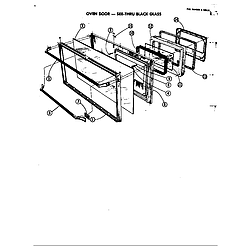 D120 Range Door assy. (see thru black glass) Parts diagram