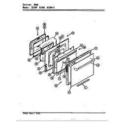 D156 Range Door (d156b & d156w) (d156b) (d156w) Parts diagram