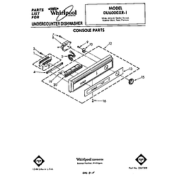 DU6000XR1 Dishwasher Console Parts diagram