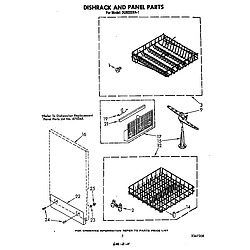 DU6000XR1 Dishwasher Dishrack and panel Parts diagram