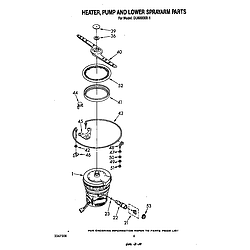 DU6000XR1 Dishwasher Heater, pump and lower sprayarm Parts diagram