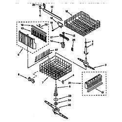 DU8950XY2 Dishwasher Dishrack Parts diagram