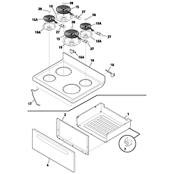 FEF352ASF Electric Range Top/drawer Parts diagram
