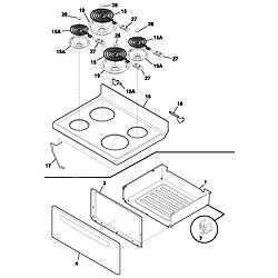 FEF352AUG Electric Range Top/drawer Parts diagram