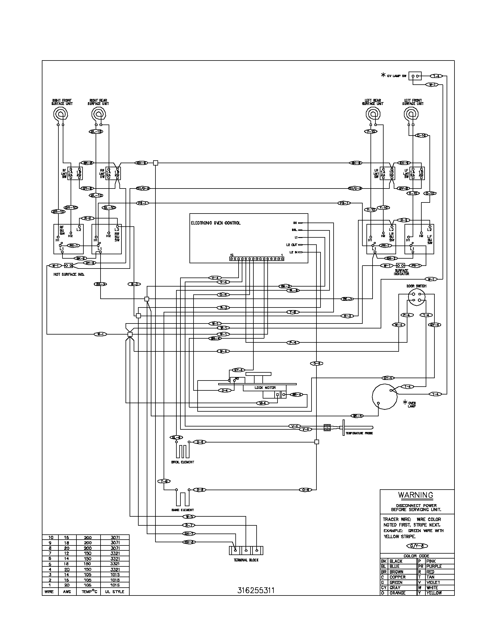 FEF366CCB Electric Range Wiring diagram Parts diagram