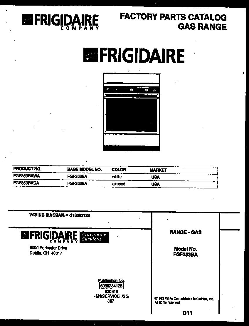 Frigidaire    FGF353BAWA Range  Gas Timer  Stove Clocks and