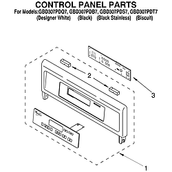GBD307PDT7 Built-In Electric Oven Control panel Parts diagram