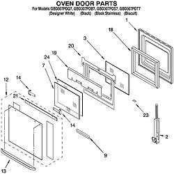 GBD307PDT7 Built-In Electric Oven Oven door Parts diagram