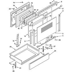 GLP84900 Free Standing Electric Range Door and drawer Parts diagram