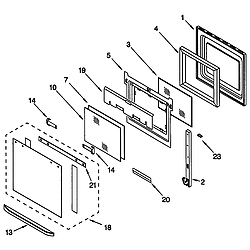 GMC275PDB1 Electric Oven Microwave Combo Oven door Parts diagram