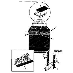 GSC30CVB Gas Range Control panel and heat shield Parts diagram
