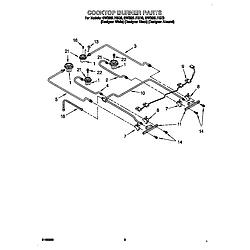 GW395LEGQ0 Gas Range Cooktop burners Parts diagram