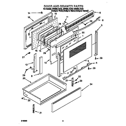 GW395LEGQ0 Gas Range Door and drawer Parts diagram