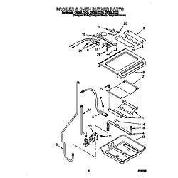 GW395LEGZ0 Gas Range Broiler and oven burners Parts diagram