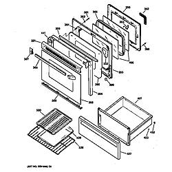 JBP65GS1AD Electric Range Door & drawer Parts diagram