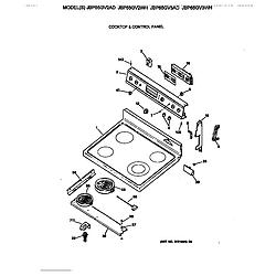 JBP65GV2AD Electric Range Cooktop & control panel Parts diagram
