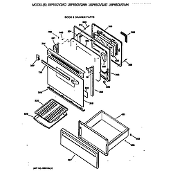 JBP65GV2AD Electric Range Door & drawer Parts diagram