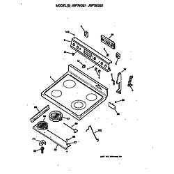 JBP76GS2WW Electric Range Cooktop Parts diagram