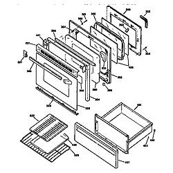 JBP78GS1BB Electric Range Door and drawer Parts diagram