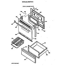 JBS27GV3WH Electric Range Door & drawer Parts diagram