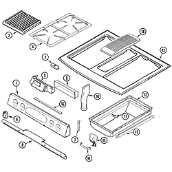 JDS9860AAB Slide-In Dual-Fuel Downdraft Range Control panel/top assembly Parts diagram