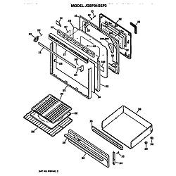 JGBP34GEP2AD Gas Range Door and broiler assembly Parts diagram