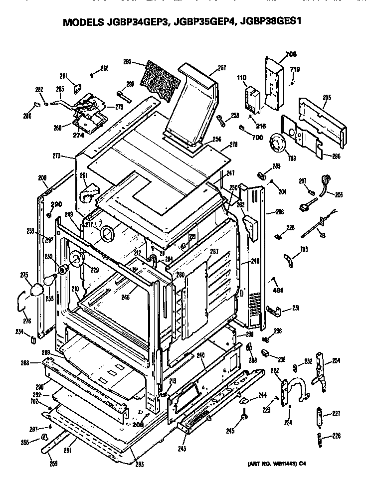 jgbp34gep3 gas range cabinet parts diagram