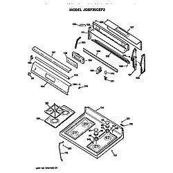 JGBP35GEP2WG Gas Range Control and cooktop Parts diagram