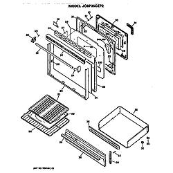 JGBP35GEP2WG Gas Range Door and drawer Parts diagram
